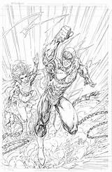 Brett Booth Flash Supergirl Coloring sketch template