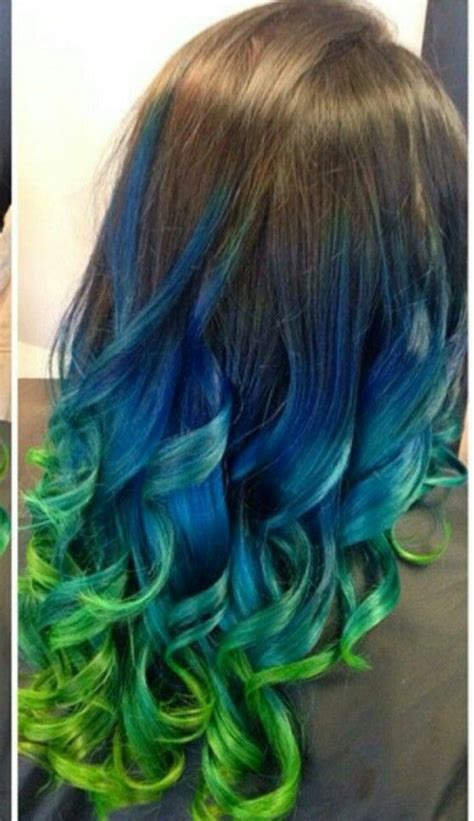 Blue Green Ombre Dip Dyed Hair Color Iluvpibbles Hair
