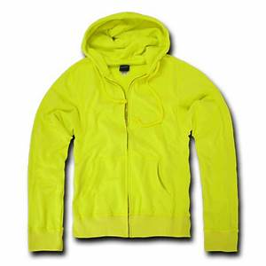 DECKY Neon Yellow Full Zip Up Hoo Sweatshirt For Men