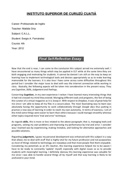 callfinal  reflection essay