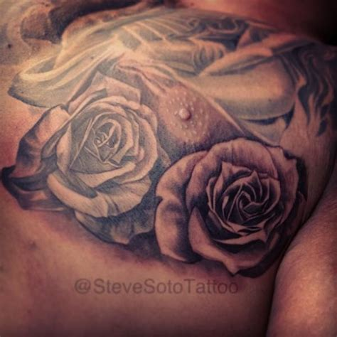 realistic chest flower rose tattoo  steve soto
