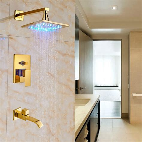 High End Shower Heads - high end brass led light shower 20cm with tub spout