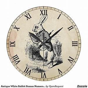 Wanduhr Römische Ziffern : antike wei e kaninchen r mische ziffern wanduhr uhren clockfaces ~ Watch28wear.com Haus und Dekorationen