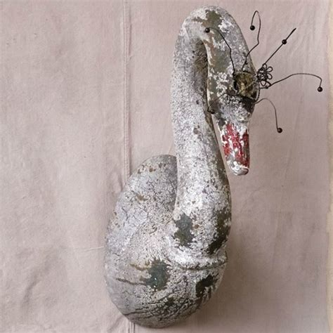 wire crowned swan wall decor antique farmhouse