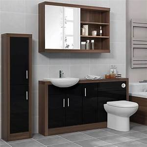 Lucido, 1500, Fitted, Bathroom, Furniture, Pack, Black, Buy