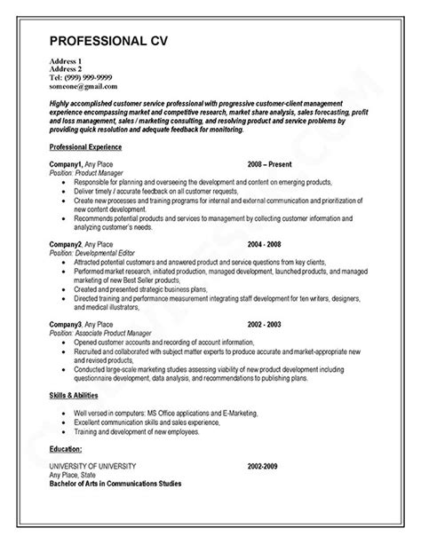 Writing A Professional Cv by Professional Cv Considers