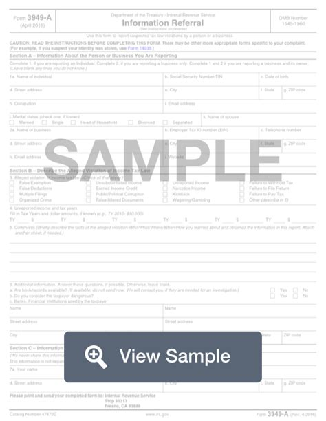 irs form   fill     report tax fraud