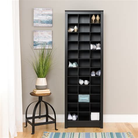 space saving shoe storage cabinet prepac space saving shoe storage cabinet black
