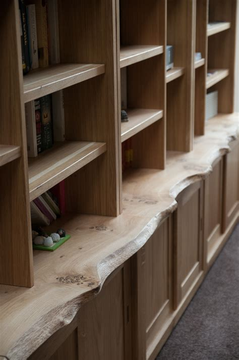 large oak bookcase  cupboards organic geometry