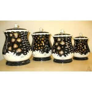 Black And White Kitchen Canisters 2 Black Kitchen Canister Set Lodge Decor