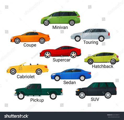 Different Car Types Icons Flat Style Stock Illustration