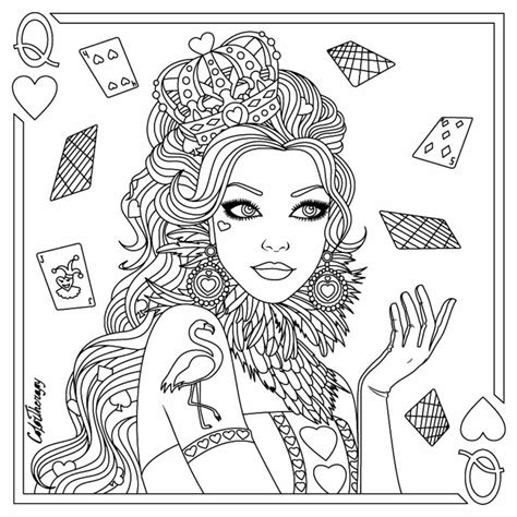 queen  hearts coloring page adult coloring