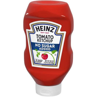 Heinz Tomato Ketchup with No Sugar Added, 29.5 oz Bottle ...