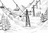 Sketch Divergent Science Ski Lift Mountain Coloring Template Pages sketch template