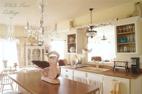 crystal chandeliers shabby romantic kitchen white lace