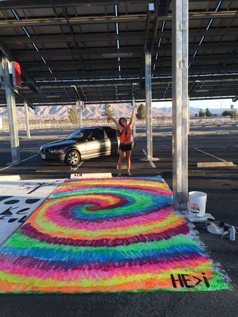senior year parking spot  easy spray paint idea