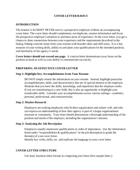 Cover Letter Introduction by Sle Cover Letter Introduction 8 Exles In Pdf