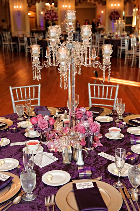 Crystal Candelabra Centerpiece At Lovett Hall Purple