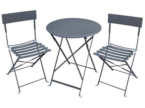 ensemble table et chaises de jardin table 2 chaises de jardin en métal canebiere blanc