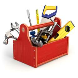 Tool Box with Tools Clip Art