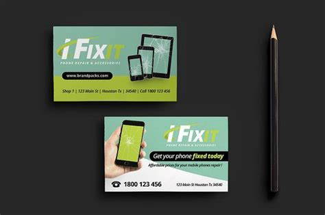 phone repair shop business card dizayn