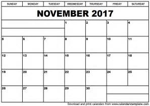 November 2017 Calendar Printable Org