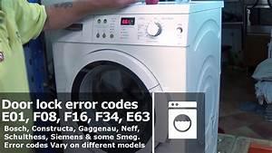 Washing Machine Doorlock Error Codes E01  F08  F16  F34