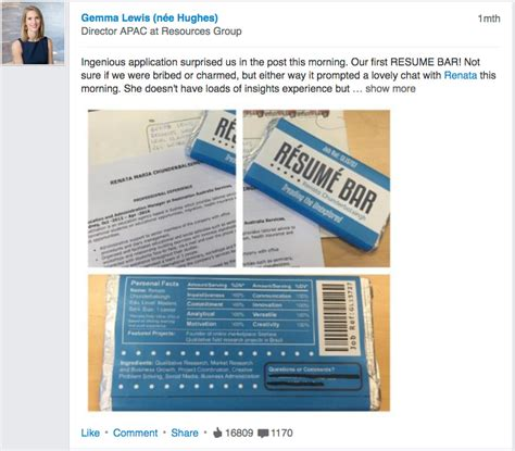 Chocolate Bar Resume by The Most Delicious Resume You Will See Linkedin