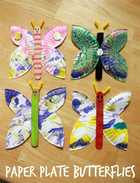 a paper plate butterfly craft an easy and creative idea 519 | Marbled Paper Plate Butterflies