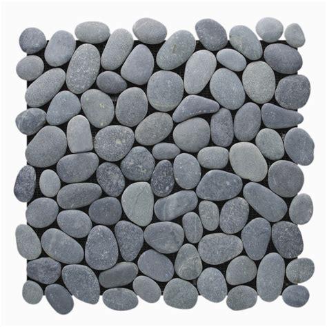 carrelage mosaique cuisine galet distone galet pebble medan charcoal naturelle