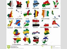 Africa Countries Flag Maps Part1 Stock Illustration