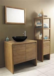 meuble salle de bain bois exotique peinture faience With meuble de salle de bain en bois exotique pas cher