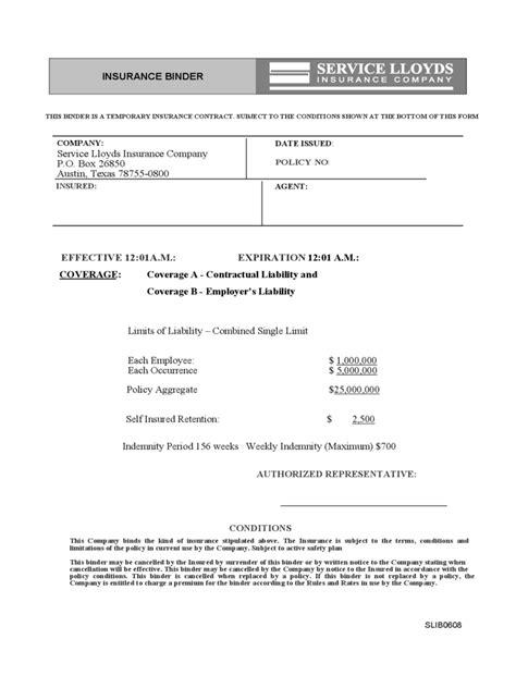 insurance binder form   templates   word
