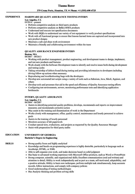 intern quality assurance resume samples velvet jobs