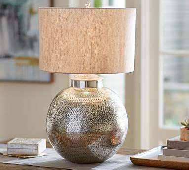 nori hammered table lamp base antique silver pottery barn