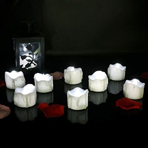 Halloween Battery Operated Taper Candles by Micandle 12pcs Cool White Flickering Battery Operated