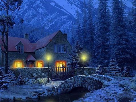Snowy Cottage Animated Wallpaper - 3d screensavers that move unfortunately 3d snowy