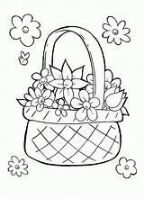 Coloring Basket Drawing Colouring Flowers Draw Sketch Adult Pencil Drawings Popular Doodle Template sketch template