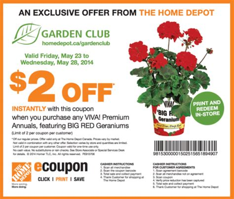 the home depot canada garden club printable coupons save
