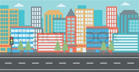 background of modern city and a road vector flat design illustration horizontal layout stock