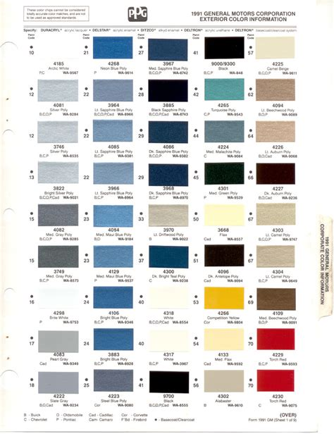 gm paint codes by year images