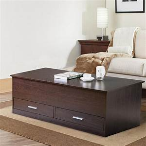Yaheetech, Slide, Top, Trunk, Coffee, Table, With, Storage, Box, U0026, 2, Drawers, Espresso, Finish