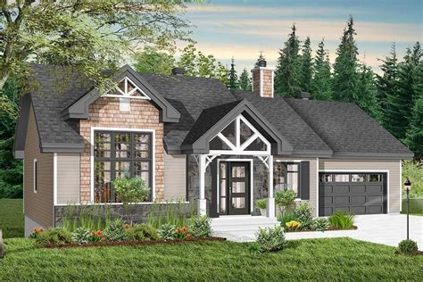 plan dr modern craftsman attached garage optional finished level drummond