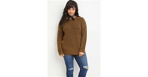 Forever 21 Plus Size Waffle Knit Cuffed Sweater In Green