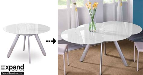 The Butterfly Expandable Round Glass Dining Table   Expand Furniture   Folding Tables, Smarter