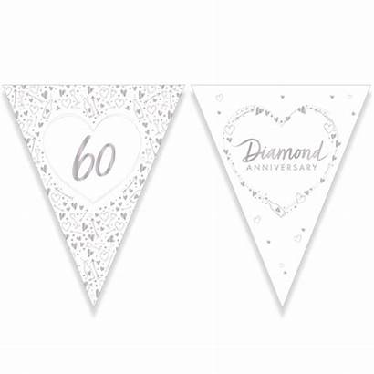Anniversary 7m Stamped Bunting Foil Flag Diamond