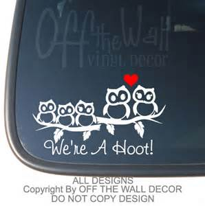 Owl Family Stick Figure Vinyl Car Decal Sticker