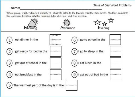 worksheet for morning afternoon evening part of the time