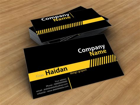 kartu nama cdr black yellow stip business card template