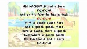 Old Macdonald Had A Farm Lyrics Karaoke Playback